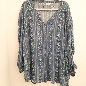 Style & Co Vintage Style Floral Button Down XXL